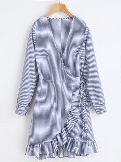 Ruffles Stripes Wrap Dress - Deep Blue M