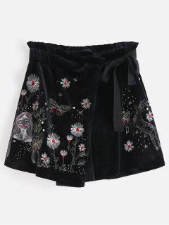 Floral Embroidered Knotted Mini Skorts - Black L