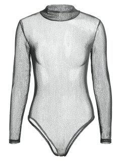 Long Sleeve See Through Voile Bodysuit - Black L