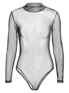 Long Sleeve See Through Voile Bodysuit - Black Xl
