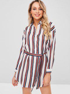 Striped Belted Long Shirt - Multi L