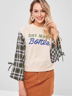 Plaid Slit Sleeve Sweatshirt - Apricot L