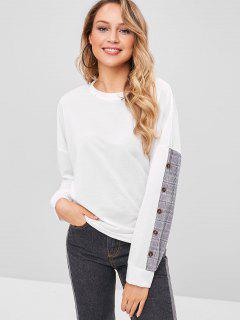 Buttoned Plain Panel Sweatshirt - White Xl