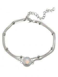 Stylish Faux Gem Beach Chain Ankle - Silver