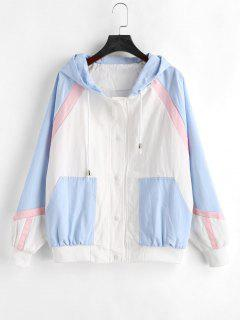 Color Block Tricolor Twill Jacket - Multi L