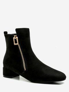 Almond Toe Chunky Heel Suede Short Boots - Black Eu 35