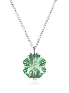 Crystal Flower Pendant Necklace - Clover Green