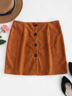 Button Down Suede Skirt - Tiger Orange L