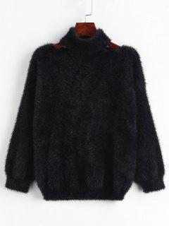 Cut Out Pullover Fluffy Sweater - Black