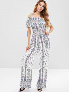 ZAFUL Floral Print Loose Cami Jumpsuit - White Xl