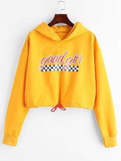 ZAFUL Drawstring Hem Good Girl Hoodie - Bee Yellow L