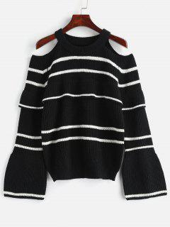 ZAFUL Stripes Cold Shoulder Ruffles Sweater - Black