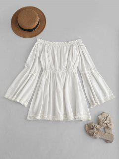 Tassels Off The Shoulder Dress - White L