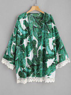 Palm Leaf Crochet Trim Plus Size Kimono - Multi 3x