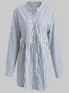 Striped Plus Size Tunic Top - White 1x