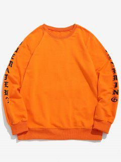Letter Graphic Face Causal Sweatshirt - Dark Orange Xs