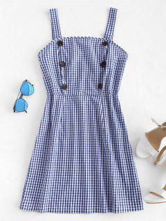 Buttoned Gingham Mini Dress - Cobalt Blue M