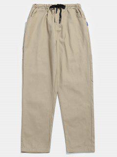 Pockets Zipper Fly Drawstring Pants - Light Khaki M