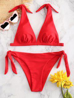 ZAFUL Tie Shoulder Padded Bikini Set - Red L
