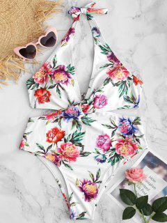 ZAFUL Floral Halter Backless Swimsuit - White L