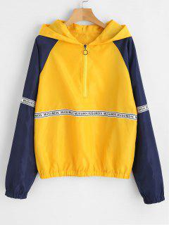 Letter Patched Half Zip Hoodie - Yellow L