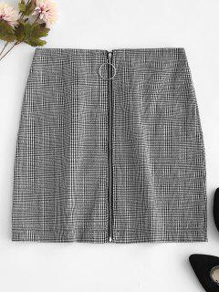 O Ring Zip-up Houndstooth Skirt - White L