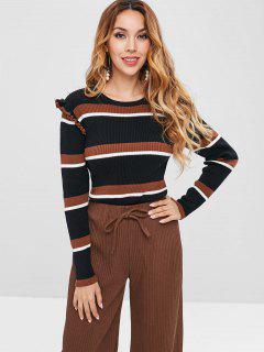 ZAFUL Ribbed Ruffles Stripes Sweater - Multi S