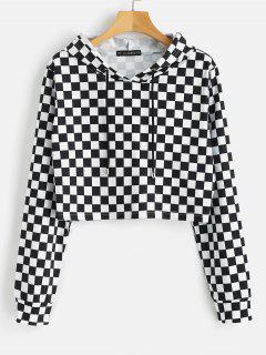 ZAFUL Checkerboard Print Cropped Hoodie - Multi L