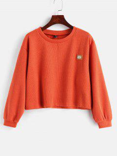 ZAFUL Metal Plaque Pullover Sweatshirt - Orange L