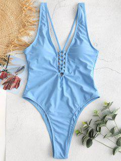 ZAFUL Criss Cross Plunging Backless Swimsuit - Crystal Blue S