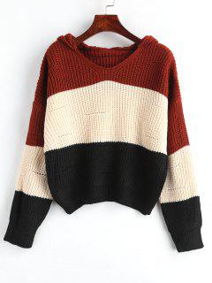Hooded Color Block Drop Shoulder Sweater - Apricot