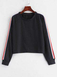Striped Raglan Sleeve Cropped Sweatshirt - Black S