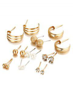 Unique Rhinestone Inlaid Alloy Stud Earrings Suit - Gold