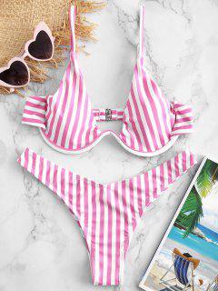 Conjunto De Bikini A Rayas Con Aros ZAFUL - Rosa Brillante M