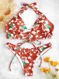 ZAFUL Lace-up Floral Bikini Set - Multi L