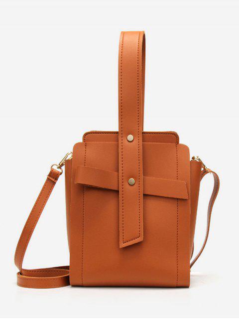 Sac à main minimaliste couleur unie vintage - Brun  Mobile