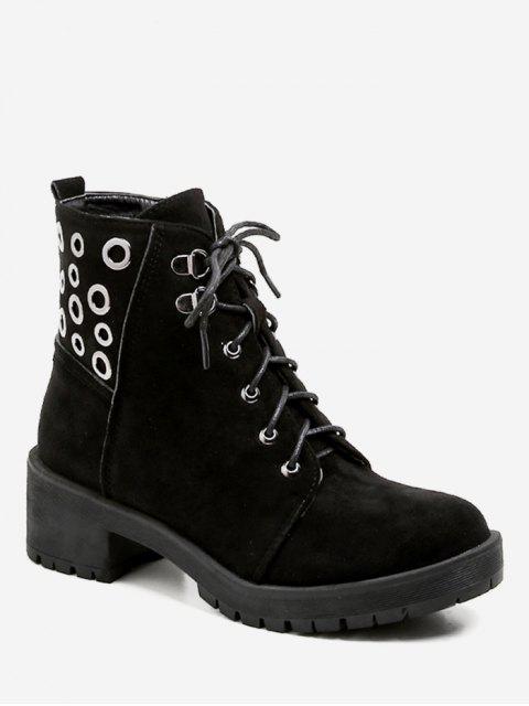 Oeillets Chunky Heel Short Boots - Noir EU 38 Mobile