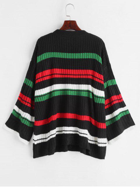 shop Stripe Oversized Sweater - BLACK ONE SIZE Mobile