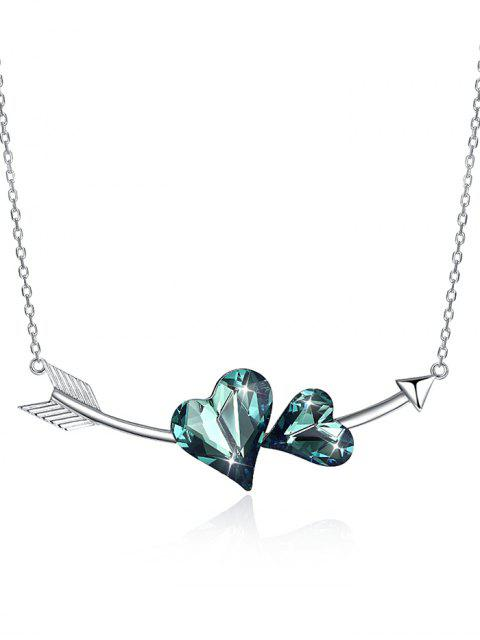 chic Vintage Crystal Heart Arrow Silver Necklace - DARK TURQUOISE  Mobile