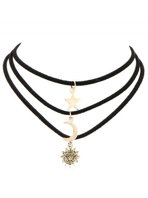 Collier multi-couches Sun Star Sun Choker - Or  Mobile