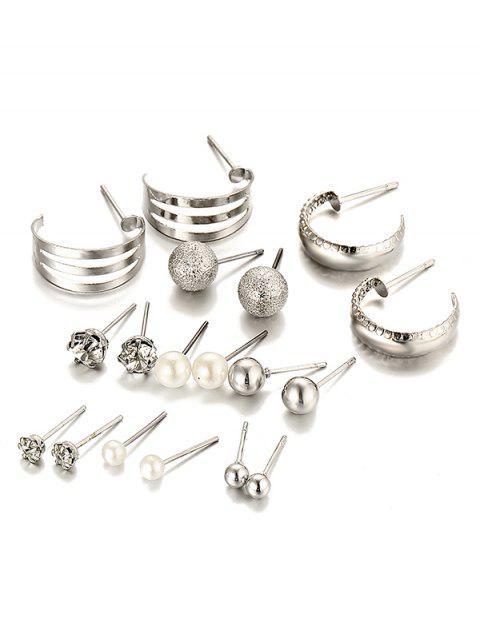 Traje de pendientes de aleación con incrustaciones de diamantes de imitación único - Plata  Mobile