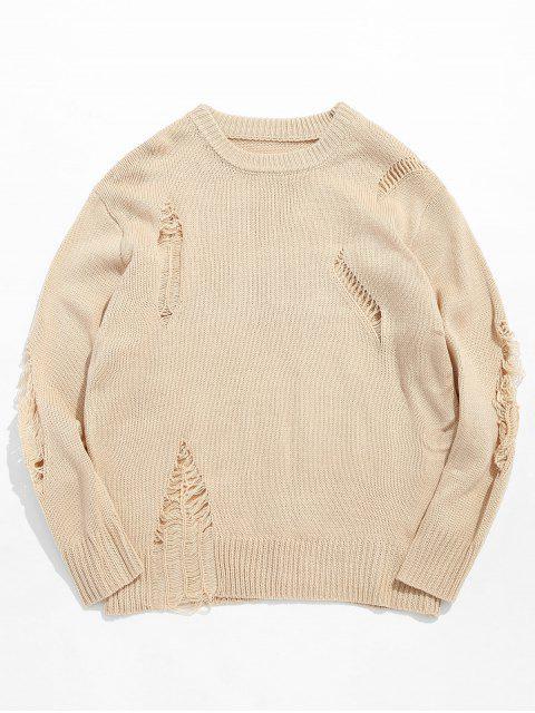 Suéter de punto rasgado sólido ocasional - Albaricoque XL Mobile