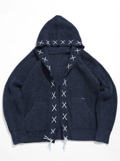 Streifenverband Criss Cross Cardigan - Dunkles Schieferblau M Mobile