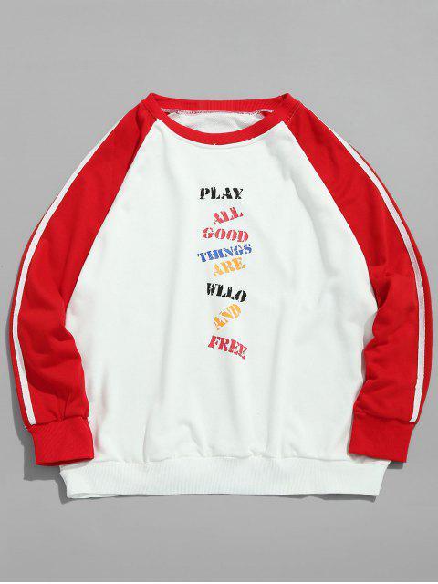 Sweat-shirt Lettre à Manches Contrastées Raglan - Blanc M Mobile