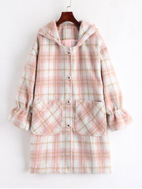 latest Plaid Hooded Coat - MULTI L Mobile