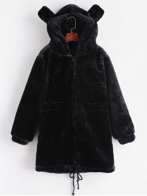 buy Faux Fur Hooded Tunic Coat - BLACK ONE SIZE Mobile