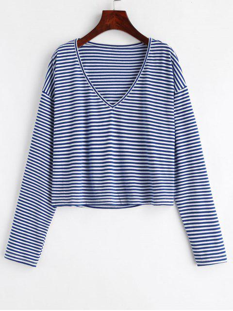 hot V Neck Striped Tee - DEEP BLUE XL Mobile