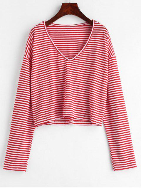 buy V Neck Striped Tee - LAVA RED M Mobile
