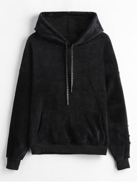 fashion Floral Embroidered Fleece Velvet Hoodie - BLACK M Mobile