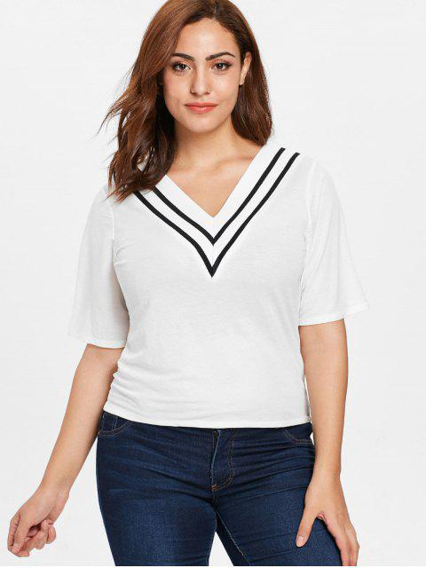 T-shirt Rayé de Grande Taille à Col V - Blanc 1X Mobile